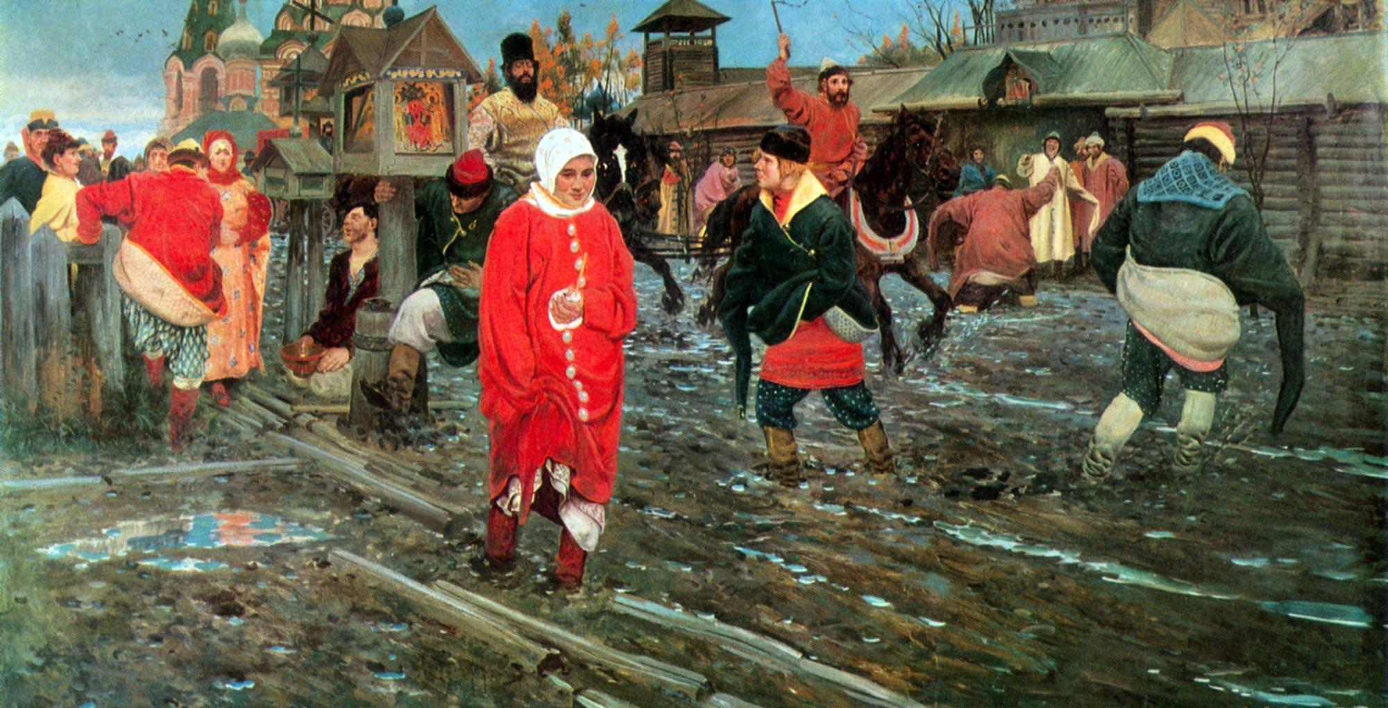 Московская улица 17 века в праздничный