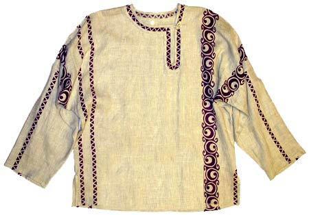 Рубаха льняная тонкая в русском национальном стиле с орнаментом...