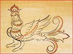 Птица Сирин. Копия. Роспись внутренней стороны крышки сундука. Великий Устюг. Начало XVIII века.