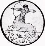 Богатырь Полкан. Роспись крышки сундука-теремка. Великий Устюг. XVII век.