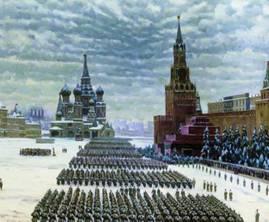 Во время  Битвы за Москву 7 ноября 1941 года парадом по Красной Площади прошли войска,  отправлявшиеся на фронт